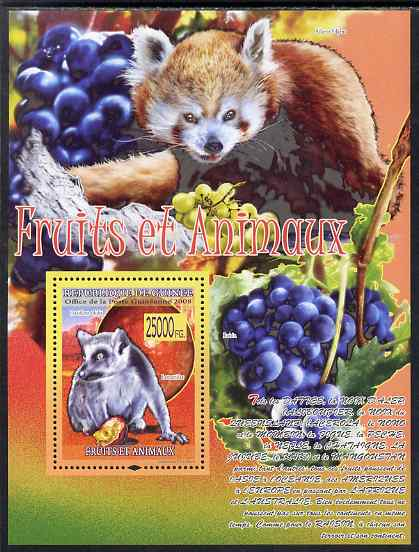 Guinea - Conakry 2009 Animals and Fruits #2 perf s/sheet unmounted mint