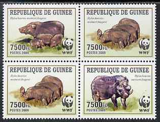 Guinea - Conakry 2009 WWF - Wild Boar perf set of 4 in se-tenant block unmounted mint, stamps on animals, stamps on  wwf , stamps on swine