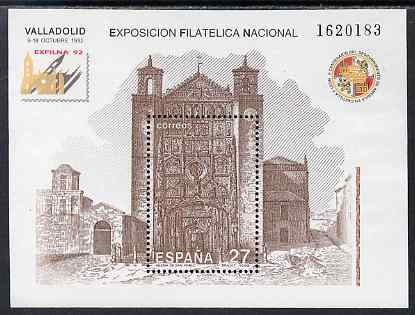 Spain 1992 Exfilna '92 Stamp Exhibition perf m/sheet unmounted mint SG MS 3189