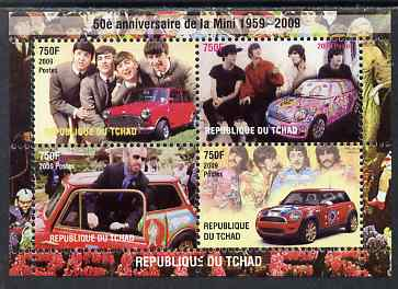 Chad 2009 50th Anniversary of the Mini featuring The Beatles, perf sheetlet containing 4 values unmounted mint. Note this item is privately produced and is offered purely on its thematic appeal.