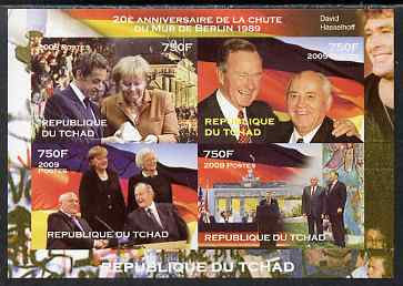 Chad 2009 20th Anniversary of the Fall of the Berlin Wall, imperf sheetlet containing 4 values unmounted mint. Note this item is privately produced and is offered purely on its thematic appeal