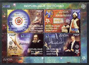 Chad 2009 Europa - Year of Astronomy perf sheetlet containing 4 values unmounted mint. Note this item is privately produced and is offered purely on its thematic appeal