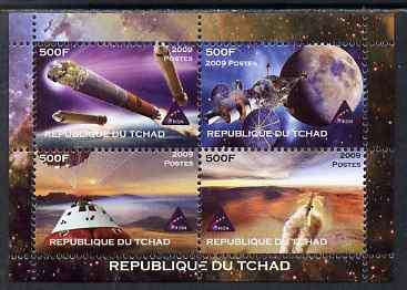 Chad 2009 Space - Orion Mission perf sheetlet containing 4 values unmounted mint. Note this item is privately produced and is offered purely on its thematic appeal