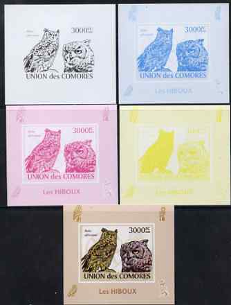 Comoro Islands 2009 Owls s/sheet - the set of 5 imperf progressive proofs comprising the 4 individual colours plus all 4-colour composite, unmounted mint