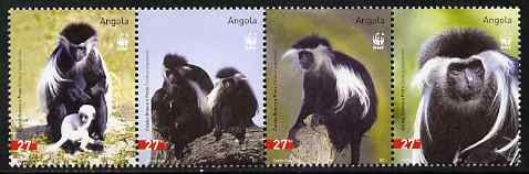 Angola 2004 WWF - Colobus Monkey perf strip of 4 unmounted mint. Note this item is privately produced and is offered purely on its thematic appeal SG 1717-20
