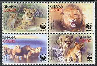 Ghana 2004 WWF - Lions perf set of 4 in se-tenant block unmounted mint SG 3432-5