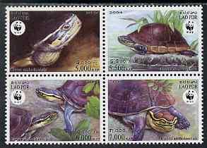 Laos 2004 WWF - Malayan Box Turtle perf set of 4 in se-tenant block unmounted mint