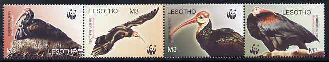Lesotho 2004 WWF - Bald Ibis perf strip of 4 unmounted mint SG 1934-7