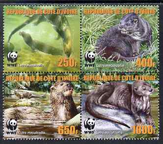 Ivory Coast 2005 WWF - Otters perf set of 4 in se-tenant block unmounted mint. Note this item is privately produced and is offered purely on its thematic appeal