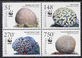 Netherlands Antilles 2005 WWF - Corals perf set of 4 in se-tenant block unmounted mint