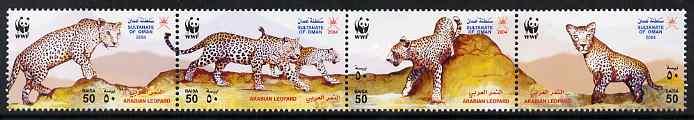 Oman 2004 WWF - Arabian Leopard perf strip of 4 unmounted mint SG 629-32