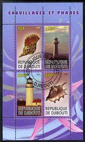 Djibouti 2009 Lighthouses and Shells #1 perf sheetlet containing 4 values fine cto used