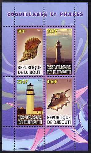 Djibouti 2009 Lighthouses and Shells #1 perf sheetlet containing 4 values unmounted mint