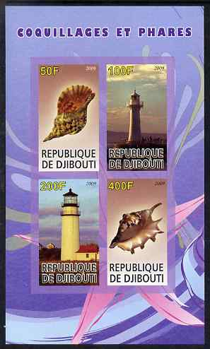Djibouti 2009 Lighthouses and Shells #1 imperf sheetlet containing 4 values unmounted mint