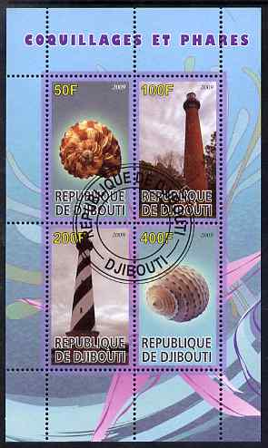 Djibouti 2009 Lighthouses and Shells #2 perf sheetlet containing 4 values fine cto used