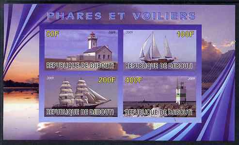 Djibouti 2009 Lighthouses and Ships #1 imperf sheetlet containing 4 values unmounted mint