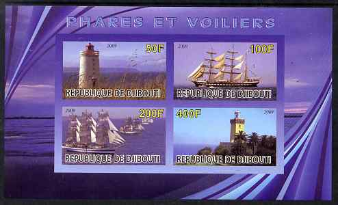 Djibouti 2009 Lighthouses and Ships #2 imperf sheetlet containing 4 values unmounted mint