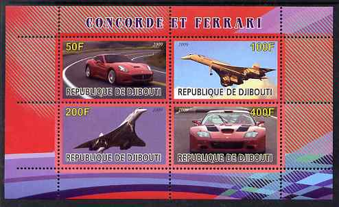 Djibouti 2009 Concorde and Ferrari #1 perf sheetlet containing 4 values unmounted mint
