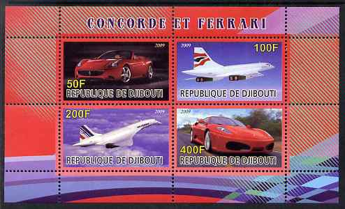 Djibouti 2009 Concorde and Ferrari #2 perf sheetlet containing 4 values unmounted mint