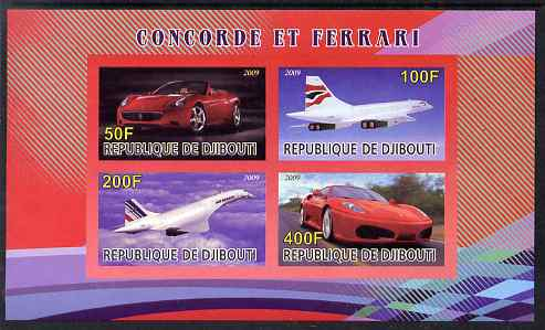 Djibouti 2009 Concorde and Ferrari #21 imperf sheetlet containing 4 values unmounted mint
