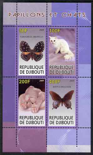 Djibouti 2009 Butterflies and Cats #1 perf sheetlet containing 4 values unmounted mint