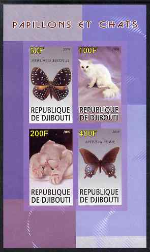 Djibouti 2009 Butterflies and Cats #1 imperf sheetlet containing 4 values unmounted mint