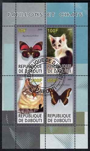 Djibouti 2009 Butterflies and Cats #2 perf sheetlet containing 4 values fine cto used