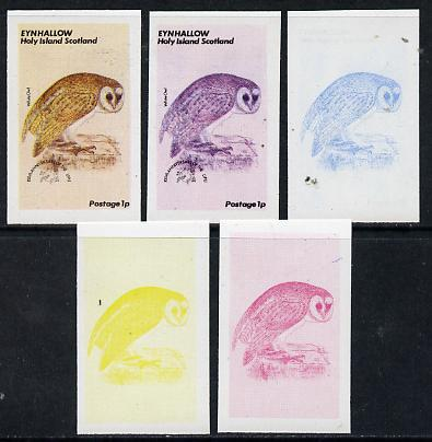 Eynhallow 1974 Owls (UPU Centenary) 1p (White Owl) set of 5 imperf progressive colour proofs comprising 3 individual colours (red, blue & yellow) plus 3 and all 4-colour composites unmounted mint