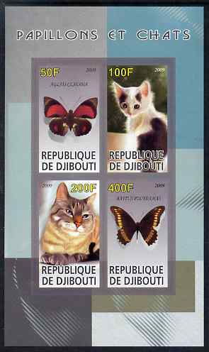 Djibouti 2009 Butterflies and Cats #2 imperf sheetlet containing 4 values unmounted mint