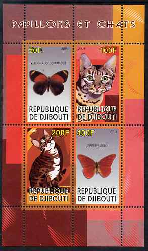 Djibouti 2009 Butterflies and Cats #3 perf sheetlet containing 4 values unmounted mint