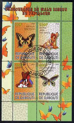 Djibouti 2009 Butterflies and Disney Characters #1 perf sheetlet containing 4 values fine cto used