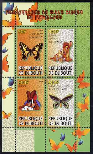 Djibouti 2009 Butterflies and Disney Characters #1 perf sheetlet containing 4 values unmounted mint