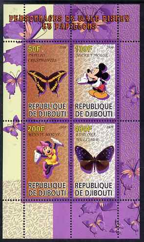 Djibouti 2009 Butterflies and Disney Characters #2 perf sheetlet containing 4 values unmounted mint
