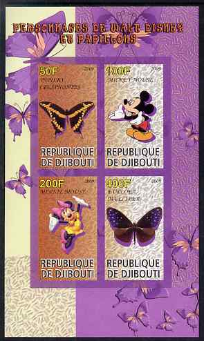 Djibouti 2009 Butterflies and Disney Characters #2 imperf sheetlet containing 4 values unmounted mint