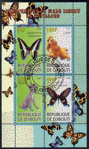 Djibouti 2009 Butterflies and Disney Characters #3 perf sheetlet containing 4 values fine cto used