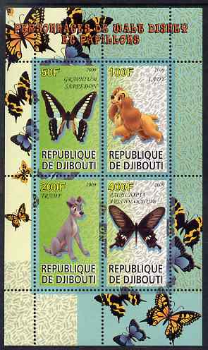 Djibouti 2009 Butterflies and Disney Characters #3 perf sheetlet containing 4 values unmounted mint