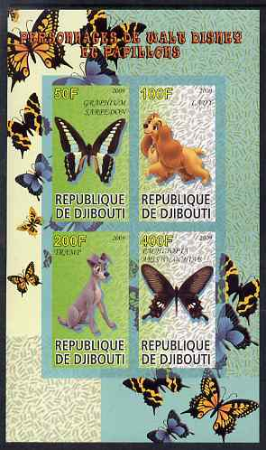Djibouti 2009 Butterflies and Disney Characters #3 imperf sheetlet containing 4 values unmounted mint, stamps on butterflies, stamps on disney, stamps on cartoons, stamps on films, stamps on movies, stamps on cinema