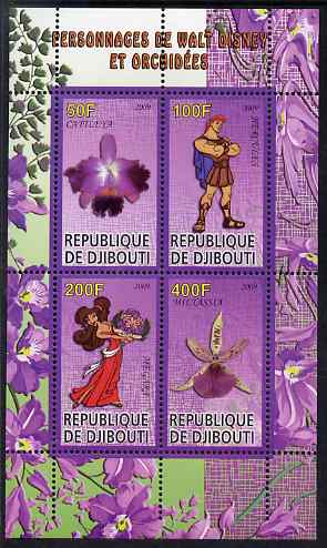 Djibouti 2009 Orchids and Disney Characters #1 perf sheetlet containing 4 values unmounted mint
