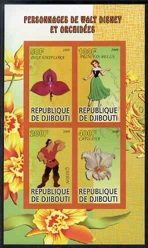 Djibouti 2009 Orchids and Disney Characters #2 imperf sheetlet containing 4 values unmounted mint
