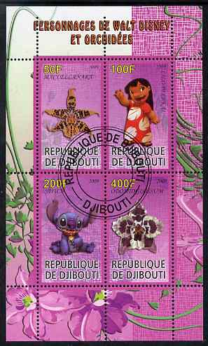 Djibouti 2009 Orchids and Disney Characters #3 perf sheetlet containing 4 values fine cto used