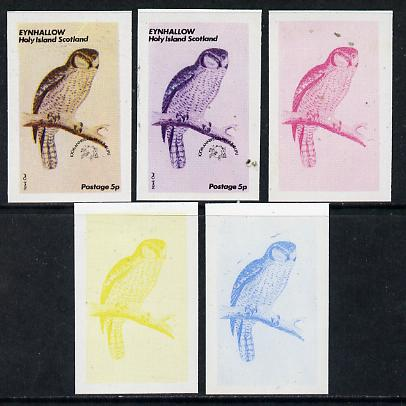 Eynhallow 1974 Owls (UPU Centenary) 5p (Hawk Owl) set of 5 imperf progressive colour proofs comprising 3 individual colours (red, blue & yellow) plus 3 and all 4-colour composites unmounted mint