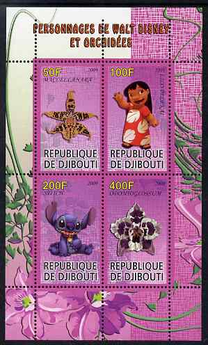 Djibouti 2009 Orchids and Disney Characters #3 perf sheetlet containing 4 values unmounted mint