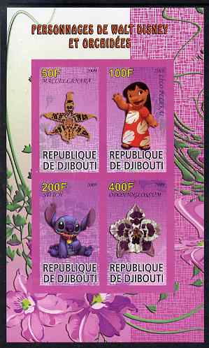 Djibouti 2009 Orchids and Disney Characters #3 imperf sheetlet containing 4 values unmounted mint