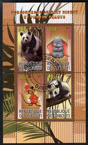 Djibouti 2009 Pandas and Disney Characters #1 perf sheetlet containing 4 values fine cto used