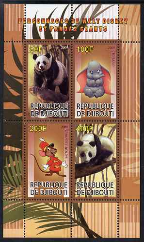 Djibouti 2009 Pandas and Disney Characters #1 perf sheetlet containing 4 values unmounted mint
