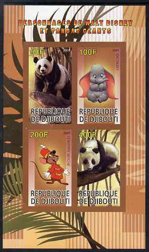 Djibouti 2009 Pandas and Disney Characters #1 imperf sheetlet containing 4 values unmounted mint