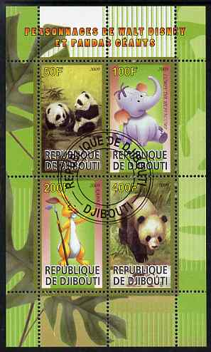 Djibouti 2009 Pandas and Disney Characters #2 perf sheetlet containing 4 values fine cto used