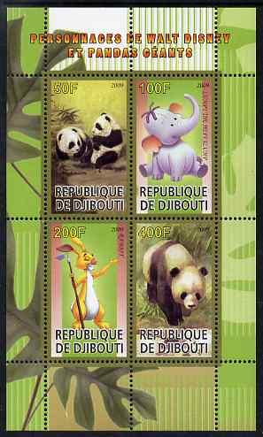 Djibouti 2009 Pandas and Disney Characters #2 perf sheetlet containing 4 values unmounted mint