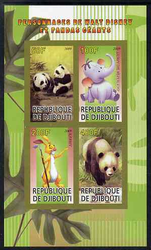 Djibouti 2009 Pandas and Disney Characters #2 imperf sheetlet containing 4 values unmounted mint