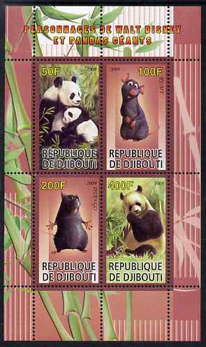 Djibouti 2009 Pandas and Disney Characters #3 perf sheetlet containing 4 values unmounted mint